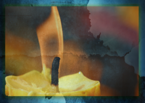 Candle with blue background